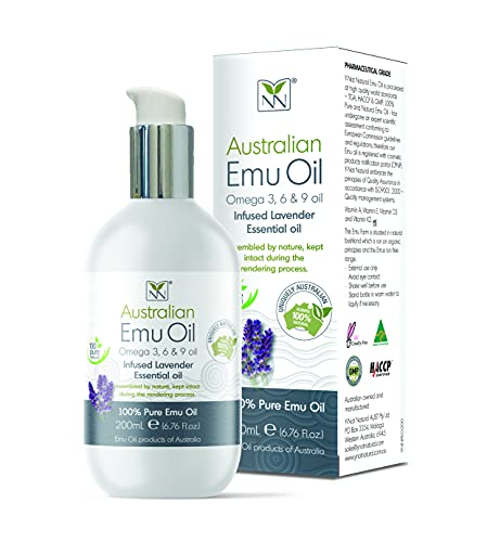 Y-Not Natural- Organic Pharmaceutical 100% Pure Emu Oil 200ml | Free Range Aboriginal Omega 3, 6 & 9 Oil Infused w/Lavender for Hypoallergenic Skin Care, Hair & Healing | Natural Source of Vitamin K2