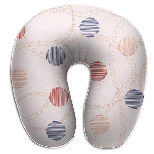Hdadwy Almohada de Viaje de Doble línea con Lunares Circulares en Forma de U, Suave y cómoda Almohada de Espuma viscoelástica para el Cuello para niños y Adultos
