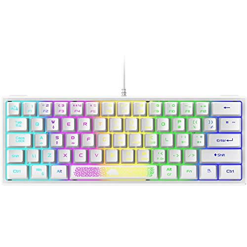 UK Layout Wired 62 Keys gaming Keyboard RGB Rainbow Backlit laser carving...