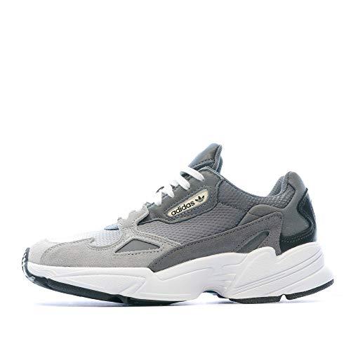 adidas Falcon Damen-Sneaker, Grau, Hellgrau, Weiß, 40 2/3 EU