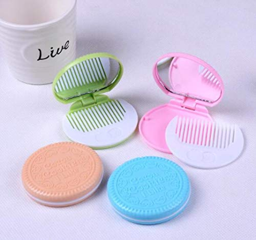 LinZX Mini-Tasche Schokoladen-Plätzchen-Gebäck Taschenspiegel mit Kamm Netter,Light Color