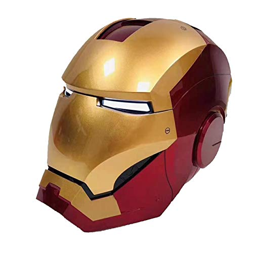 MODRYER Iron Man Helmet Wearable Led Eye Electric Open Close Movie 1:1 Model Mask Voice Control Bluetooth Headset Halloween Party Cosplay Props Gift,1/1