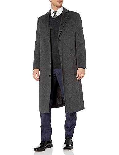 Adam Baker Men's 54805 Overcoat Single Breasted Luxury Wool/Cashmere Full Length Topcoat - Charcoal - 38R