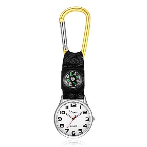YesDone Karabiner Uhr, Gürtelhaken Clip Uhr Krankenschwester Taschenuhr Wanderuhr mit Kompass