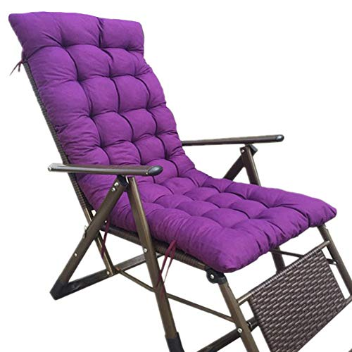WZLL Liege Polster Kissen, Tragbar rutschfest Stuhlauflage Terrasse Sitzkissen Hochlehner, Für Reise/Urlaub/Drinnen/draußen (Color : Purple, Size : 175x48cm)