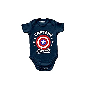 My First 24 Body para bebé de manga corta, diseño de Capitán Adorable, unisex, 100% algodón transpirable, azul navy, 12-18 Meses