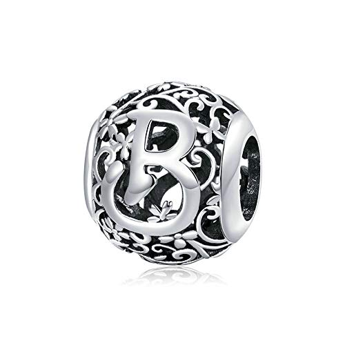 Letter Charm Initial A-Z Alphabet Charm 925 Sterling Silver Charms Dangle Charm for Bracelet Fits European Necklace Compatible Mothers Day Gift With Box(Letter B)