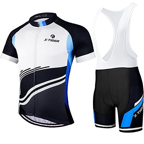 X-TIGER Hombres de Bicicleta con 5D Gel Acolchado MTB Ciclismo Tirantes Culotte Pantalones Cortos Culotes (#2, L(CN)=M(EU))