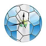Night Ing Bandera de Guatemala del Reloj de Pared Redondo en el balón de fútbol Decorativo para el hogar, la Oficina, la Escuela