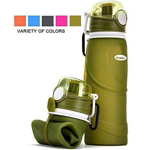 Kemier Botellas de Agua de Silicona Plegables–750ML,Calidad Médica Libre de BPA,Aprobado por FDA.Enrollarse,Botellas de Agua Plegables a Prueba de Fugas para el Aire Libre y Deportes(Verde)