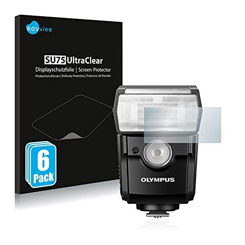 savvies Protector Pantalla Compatible con Olympus FL-700WR (6 Unidades) Película Ultra Transparente