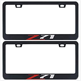 Auggies Z71 for Chevy Colorado Silverado 1500 Black Red Stainless Steel Black License Plate Frame Cover Holder Rust Free with Caps and Screws (2)
