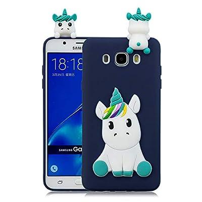 HongYong Funda para Samsung Galaxy J7 (2016), 3D Unicornio Patrón Cover Ultra Delgado TPU Goma Cover Suave Carcasa Silicona Gel Anti-Rasguño Protectora Espalda Caso para Samsung J710 - Azul