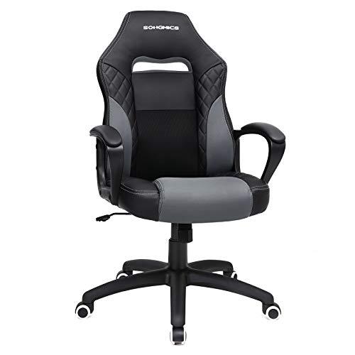 SONGMICS Gamingstuhl, Bürostuhl mit Wippfunktion, Racing Chair, ergonomisch, S-förmige Rückenlehne, gut für die Lendenwirbelsäule, bis 150 kg belastbar, Kunstleder, schwarz-grau OBG38BG