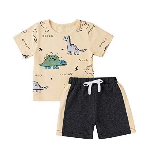 Conjunto de ropa de manga corta con estampado de dinosaurio para bebés y niños pequeños