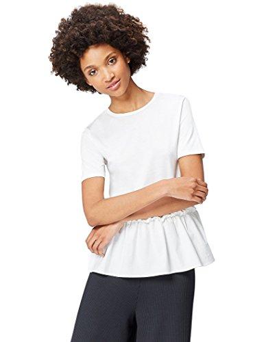 find. 17AMZ037 t shirt damen, Weiß (White), 38 (Herstellergröße: Medium)