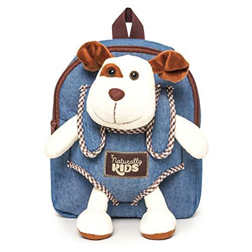 Naturally KIDS Mochilas y bolsas con ruedas, Mochila para niños con peluche de peluche, Mochila infantil — Perro, Small Toddler backpack