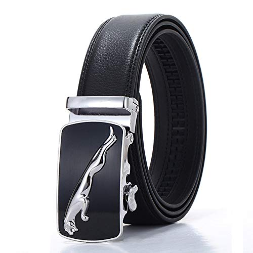 SAMGU Cuir Noir Ceinture Mode Hommes avec Boucle Automatique Largeur de 3.5cm