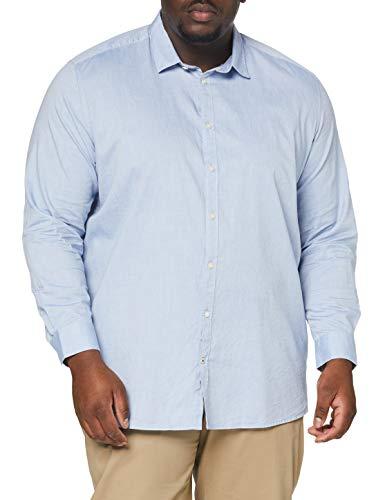 TOM TAILOR Men+ Herren Oxford Basic T-Shirt, 15837-light Blue, XXXXL