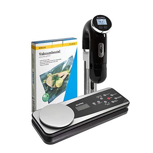ALLPAX Sous Vide Set TW 320: Sous Vide Garer SVU optimiertes 2019er Modell 1200 W + Vakuumierer TW 320 mit digitaler Küchenwaage + 50 Vakuumbeutel 17,5 x 25 cm
