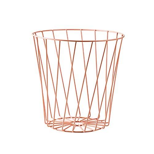 Papeleras Cubos de basura de malla metálica Bote de basura con tapa abierta Bote de basura para oficina Hogar Hierro Inodoro hueco Bote de basura Patio, Cubo de basura universitario (Color: Rosa)