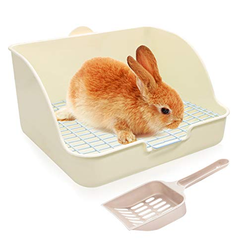 BWOGUE Rabbit Litter Box Toilet,Potty Trainer Corner Litter Bedding Box Pet Pan for Adult Guinea Pigs, Rabbits, Hamster, Chinchilla, Ferret, Galesaur, Small Animals Cage Toilet