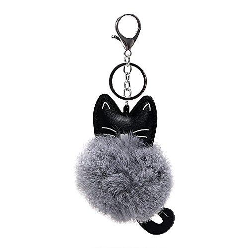 iTimo Schlüsselanhänger Kunstfell Schlüsselanhänger, Auto Schlüsselanhänger PU Leder flauschig Auto Zubehör Katze Kopf Puppe Schlüssel Ring für Mädchen Frau (Grau)