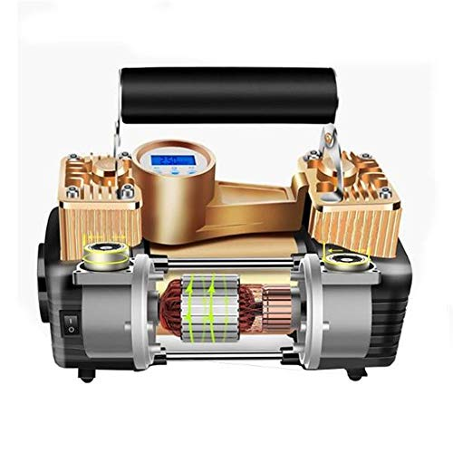 Mini draagbare luchtcompressor 12V 100 PSI Dual Cylinder Portable Air Compressor for Auto en Motor Inflator Elektrische luchtcompressor (Color : Brown, Size : One size)