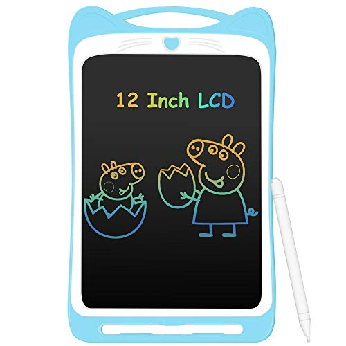 AGPTEK Tavoletta Grafica LCD Scrittura 12 Pollici Colorato con Pulsante di Blocco,Lavagna da Disegno Cancellabile Portatile Tavoletta Scrittura per Bambini Studenti Progettista Blu