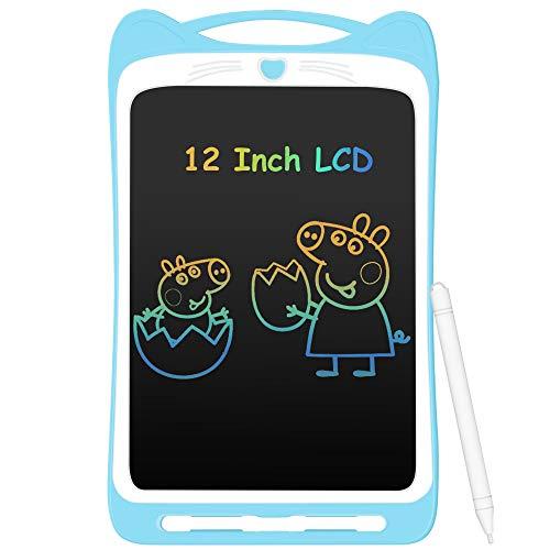 AGPTEK Tavoletta Grafica LCD Scrittura 12 Pollici Colorato, con Pulsante di Blocco, Lavagna da Disegno Portatile per Bambini Studenti Progettista Blu