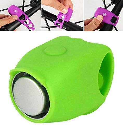 PCSW Elektrische Fahrradklingel Fahrradhupe mit 120 dB | aus Silikon inklusive eingebauten Knopfzellen | Viele Verschiedene Modis | Fahrradring Fahrrad Lenker Alarm Klingel (Grün)