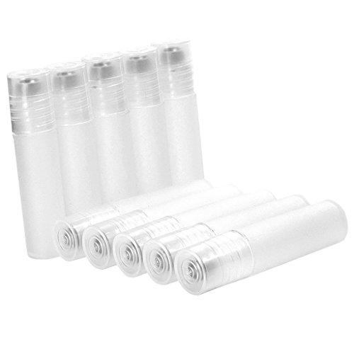 Homyl 10pcs 5ml Tube Rouleau Bouteille Flacon Vide en Plastique avec Bille en Acier Inox Rechargeable