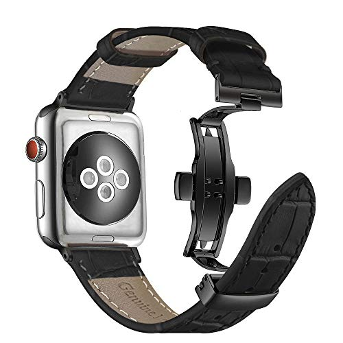 Aottom Compatibel met Apple Watch Series 3 38 mm armband leer met vlindersluiting, lederen armband Apple Watch Series 4 40 mm Sport vervangende band horloge schakelarmband armbanden iWatch 38 mm Series 3 2 1