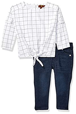 7 For All Mankind Baby Girls Long Sleeve Textured Woven Top and Jean Set, Vintage White/Black Check, 24M