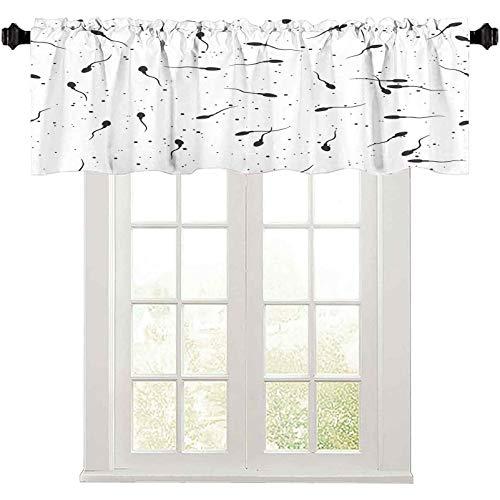 Kitchen Window Valance, Sperm Microscope View Vector Illustration Seamless Pattern Spermatozoa in Semen , 1 Panel 36' W x 18' L valances for Windows Living Room