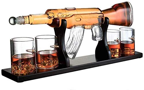 KPTKP Conjunto de decantador de Whisky AK47 Hecho a Mano, con Soporte de Madera y 4 Vasos, 1000 ml Dispensador de Bebidas para Vino Brandy Bourbon Scotch Licor