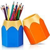 Safe material: the pencil shaped pen holder is made of plastic, which is durable, fadeless, not easy to deform and can be applied for a long time; It is easy to clean and the color can be maintained Lovely shape: the design of pencil head shape and b...