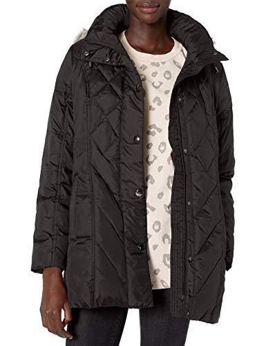 LONDON FOG Women's Plus Size Diamond Quilted Down Coat, Black, 2X