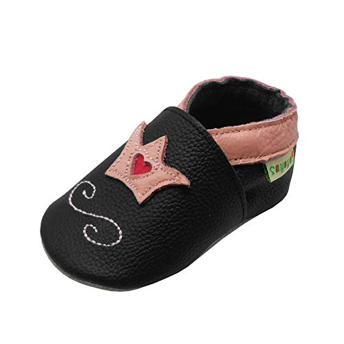 SAYOYO Baby Krone Lauflernschuhe Leder Weiche Sohle Baby Mädchen Baby Jungen Kugelsicherer Krippe Enfants Schuhe 21/22 (12-18) L Monate, Schwarz