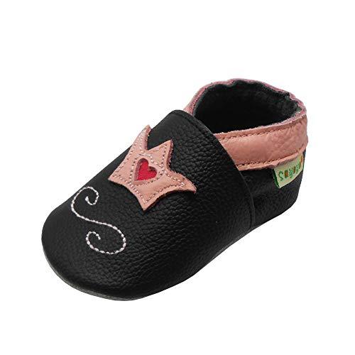 SAYOYO Baby Krone Lauflernschuhe Leder Weiche Sohle Baby Mädchen Baby Jungen Kugelsicherer Krippe Enfants Schuhe (0-6 Monat, Schwarz)