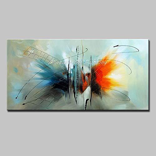 Olieverfschilderij handbeschilderd, natuur, abstracte kleur, hemelsblauw, rood, grote ladder, modern, handbeschilderd, artistiek, voor kantoor, hotel, woonkamer, decoratie 150×300cm