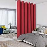 LORDTEX Rote Trennvorhänge – totale Privatsphäre Wand Raumteiler Paravent Breiter Verdunkelungsvorhang für Wohnzimmer Schlafzimmer Terrasse Schiebetür, 1 Panel, 2,5 m breit x 2,7 hoch