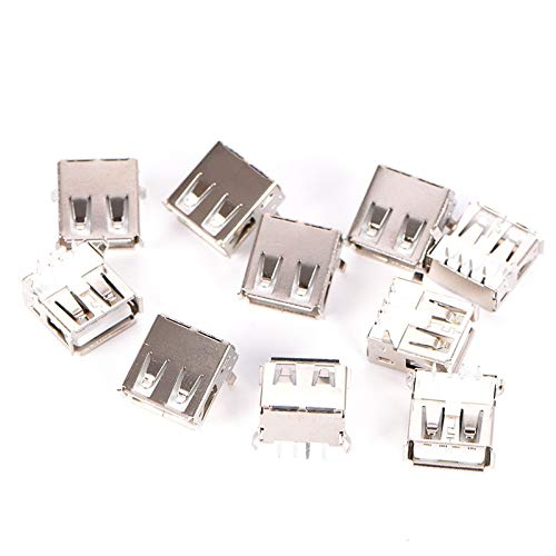 Connectors - 10pcs A Port 4 Pin Dip Right Angle Jack Socket Connectors Usb 2.0 Type Female Mount - 10pin 1394 Drive Micro Charger Headphone Mount Voltage Cable Round Input Philips Socket Screw