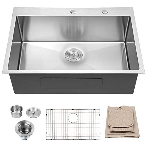 For Sale! Lordear 33 Inch Topmount Kitchen Sink Drop-in 16 Gauge R10 Tight Radius Stainless Steel Si...