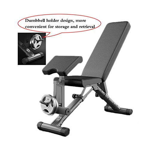Dumbbell Benches Multi-functional Stools SitUp Folding Home Exercise Chairs Bench Straps Fitness Equipment Color Black Size 125 * 42 * 47cm