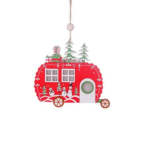 Kompassswc LED Weihnachtsbaum Anhänger Holzanhänger Christbaumschmuck LED Beleuchtung Fenstdeko Türschmuck Weihnachten Dekoration mit warmweißes Licht (Wohnwagen)