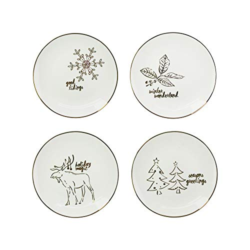 American Atelier Holiday 4 Piece Salad Plate Set, 8x8, Gold