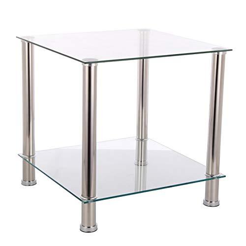 Mutiwill 2 Niveaux Table Basse Vitrine Carrée Centre De Table Tables D'appoint en Verre Petit Présentoir en Acier Inoxydable pour Le Salon Et La Chambre Couleur Transparente