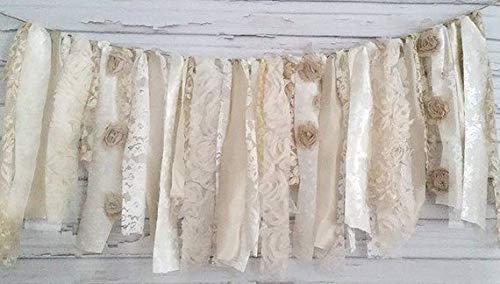 Oatmeal Shabby Chic Rag Tie Garland: ~ Photo Shoot ~ Vintage ~ Wedding Decor ~ Birthday ~ Nursery ~ Bridal Shower ~ Photo Prop ~ Decorative ~ Wall Decor! (3 FEET WIDE)