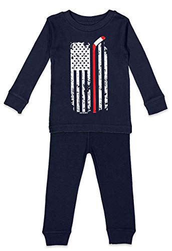 Haase Unlimited Hockey Stick American Flag - Sports USA Infant/Toddler Pajama Set (Navy Blue Top/Navy Blue Bottoms, 3T)